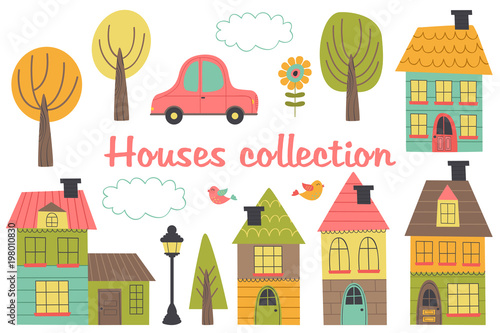 set of isolated houses and other elements part 1 - vector illustration, eps