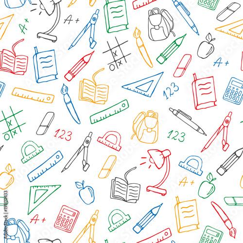 Wzór na temat szkoły, proste ręcznie rysowane ikony konturowe, kolorowe markery na białym tle