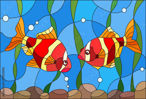 ilustracja-w-stylu-witrazu-z-para-ryb-barbasy-na-tle