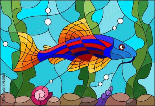 ilustracja-w-stylu-witrazu-z-jasnym-sum-na-tle-wody