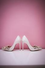 Elegant And Stylish Bridal Shoes. Selective Focus.