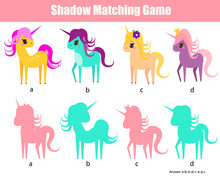 Shadow Matching Game. Kids Activity With Unicorns