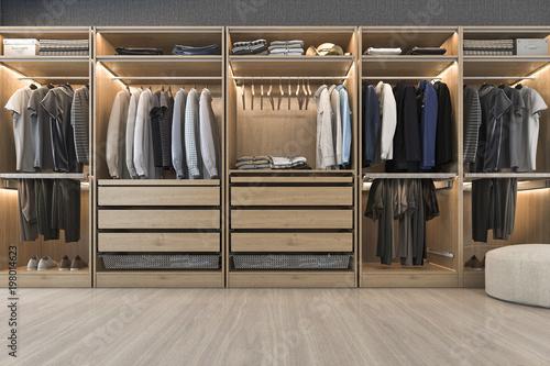 Fotografía  3d rendering modern scandinavian white wood walk in closet with wardrobe near wi