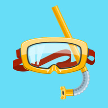 Yellow Goggles And Snorkel Iso...