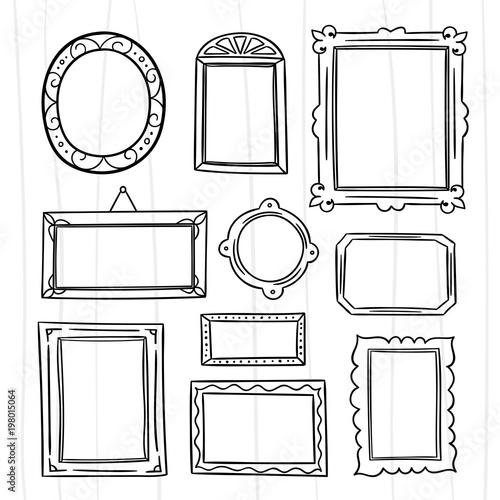 Cute hand drawn frames vector set. Graphic design outline frame ...