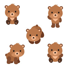 Set Of Cute Cartoon Bears In M...