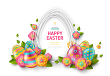 Easter Card With Frame, Eggs And Flowers