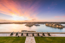 Beautiful Sunrise Over Three Cities In Malta