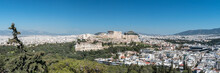 Panoramic View Of The Acropolis Of Athens Against Blue Sky, Gree