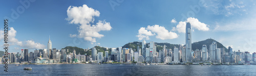 Poster Hong-Kong Panorama of Victoria Harbor of Hong Kong city