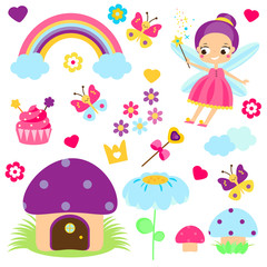 Naklejka Fairy set. Collection of cartoon fairy tale design elements. Rainbow, mushroom house, forest symbols. Stickers, clip art for girls for scrapbook, party, mobile applications