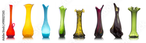 Collection of colorful glass vases isolated on white background