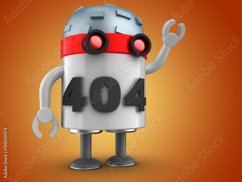 Poster Robots 3d robot over orange