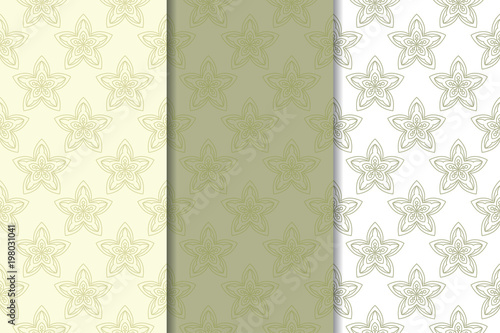 Fototapeta Set of  olive green floral backgrounds. Seamless patterns obraz na płótnie