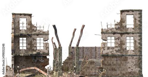 Fotografie, Obraz Ruined Building Isolated On White 3D Illustration