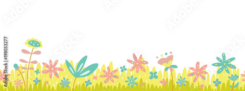 Fotografija Spring cute green grass and flowers seamless border, Easter greeting card with season elements, flat vector isolated on transparent background
