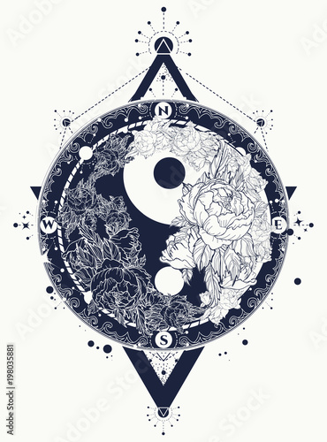 Fotografie, Obraz  Yin and Yang tattoo art vector