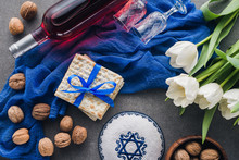 Top View Of Kippah, Matza And Wine, Jewish Passover Holiday Concept