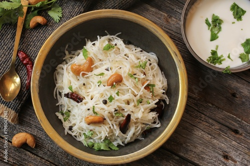 Cuadros en Lienzo Homemade Vermicelli Upma / Pulao -South Indian Breakfast top view