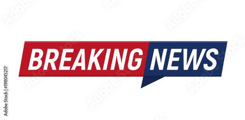 Fototapeta Breaking news headline minimalistic logo on white background. Entertaining show with news. Vector Illustration. obraz