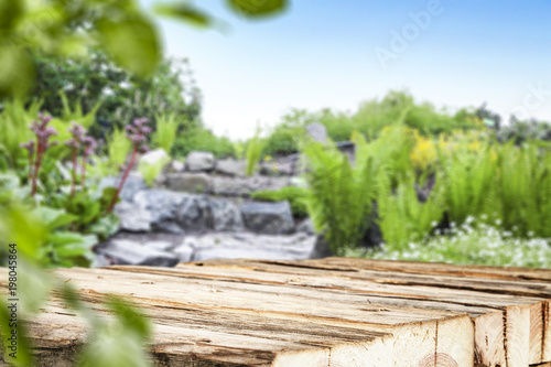Poster Jardin table background and spring time