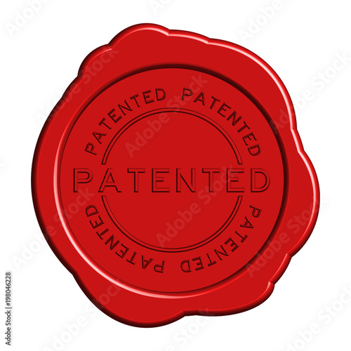 Photo Patented word red color rubber stamp on white background
