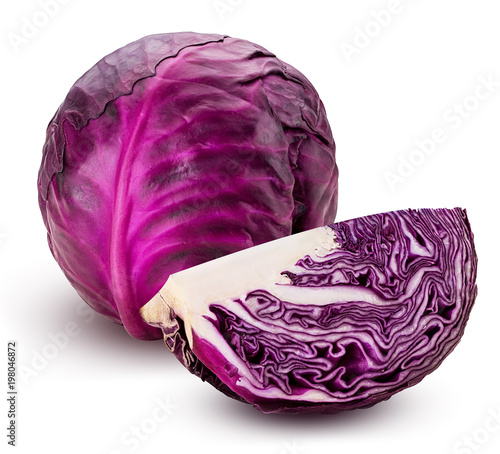 Obraz Red cabbage one slice - fototapety do salonu