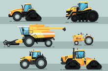 Modern Agricultural Vehicle Isolated Set. Caterpillar Tractor, Combine Harvester, Crawler Tractor Vector Illustration. Rural Industrial Farm Equipment Machinery, Comercial Transport In Flat Design