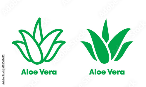 Canvastavla Aloe Vera green icon for natural organic product package label