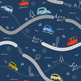 Seamless vector pattern with small cars and road signs on blue background