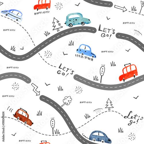 Bezszwowy wektoru wzór z małymi samochodami i drogowymi znakami na białym tle