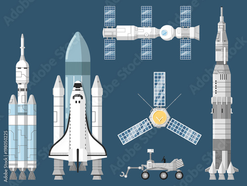 Astronautics And Space Technology Isolated Set Space Shuttle