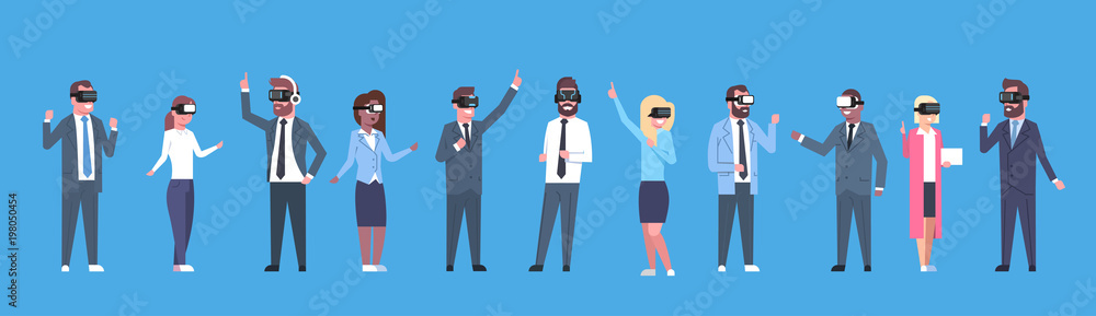 Fototapeta Business People Group Wearing Vr Headset Virtual Reality Glasses Horizontal Banner Flat Vector Illustration
