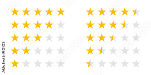 Obraz Rating stars icons for 5 star and half rate. Vector review ranking stars for web design signs - fototapety do salonu