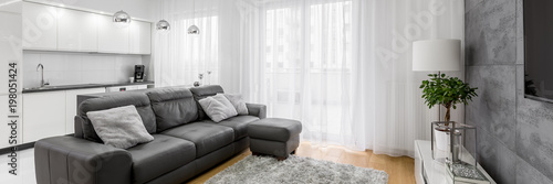 Obraz Living room with leather sofa - fototapety do salonu