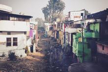 Grunge Stone Houses In Poor Ar...