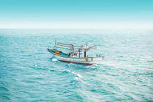 Squid Fishing Boat Early In The Morning In The Open Sea - Jeju Island, Korea