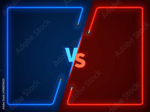 Fotografía  Versus battle, business confrontation screen with neon frames and vs logo vector