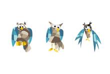 Cute Owl Pictures. Vector Illu...