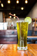 Ice lemon green tea. Cafe view. Freshness beverage.