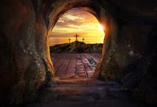 Empty Tomb With Three Crosses