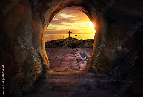 Empty tomb with three crosses