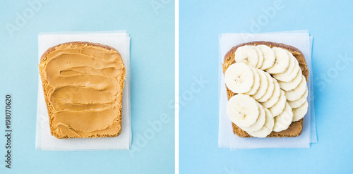 Preparation of a minimal vegan breakfast - bread toast with peanut butter and banana. Collage of two photos. Flat lay, top view
