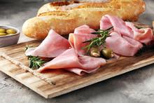 Sliced Ham On Wooden Board. Fr...