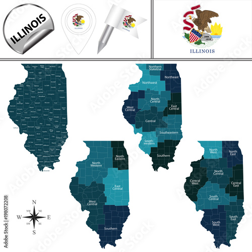 Map of Illinois with Regions Poster Mural XXL