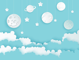Fototapeta samoprzylepna Modern paper art clouds, moon, planets, stars. Cute cartoon fluffy clouds. Pastel colors. Origami style