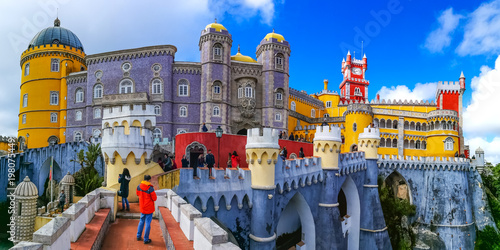 Fotografía  Closeup view of the historical Pena Palace of Sintra in Lisbon, Portugal
