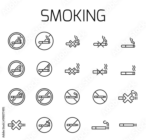 Smoking related vector icon set Wallpaper Mural