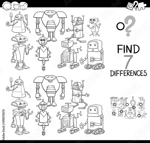 Fotografie, Obraz  differences game with robots coloring book