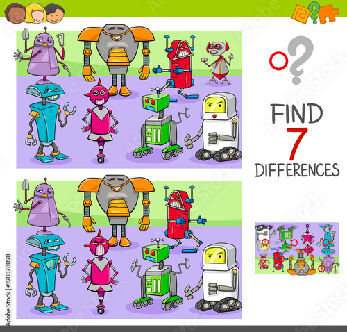 Fotografie, Obraz  find differences game with robots fantasy characters